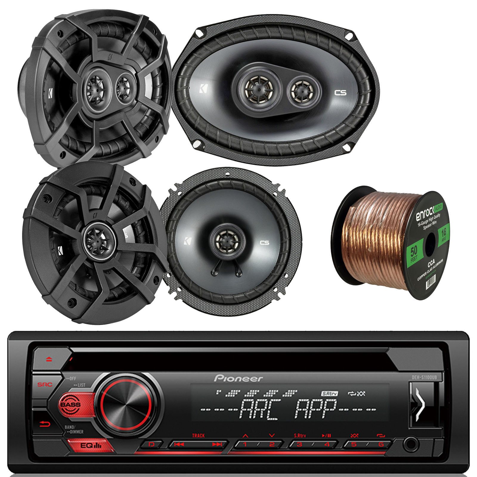 "Pioneer DEHS1100UB Single DIN Car Stereo Bundle - Kicker Car Audio 6.5-Inch Component Speaker Set Of 2 Bundle + Kicker 6x9"" 2-Way Car Speaker Set Of 2 - Enrock 50Ft Speaker Wire"