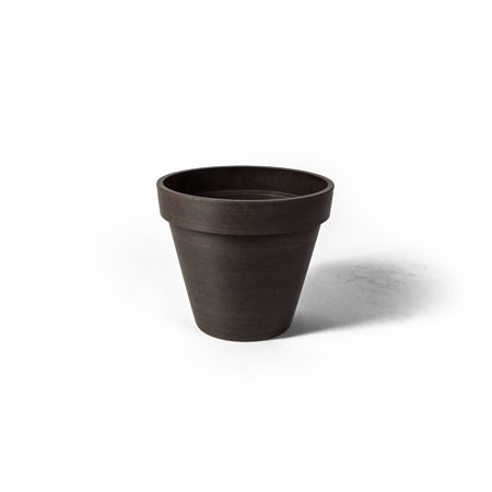 Algreen Valencia Planter, Round Banded Planter, 20-In. Diameter by 16-In.H, Spun Chocolate Traditional Stone Planter