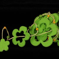 Gaelic Green Fuzzy Felt Flower Garland 18 Meters/19.8 Yards