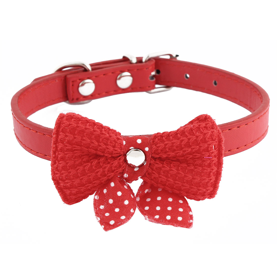 Single Pin Buckle Bow Bowknot Detail Pet Dog Kitty Collar 27-33cm Red