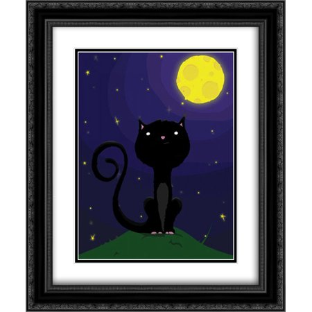 Halloween Cat. A 2x Matted 20x24 Black Ornate Framed Art Print by Grey, Jace - Black Cat Halloween Clip Art
