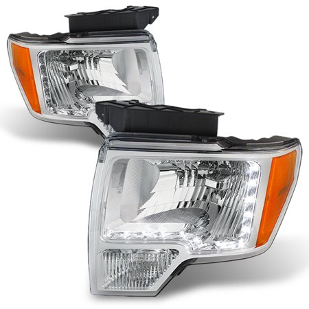 Fits 09-14 Ford F-150 F150 Pickup Truck DRL LED Strip Headlights Pair