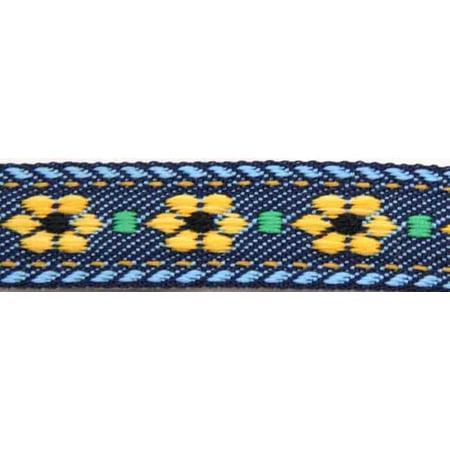 5/8 Inch Blue Jeans Flowers Jacquard Braid Ribbon (Floral Jacquard Ribbon)