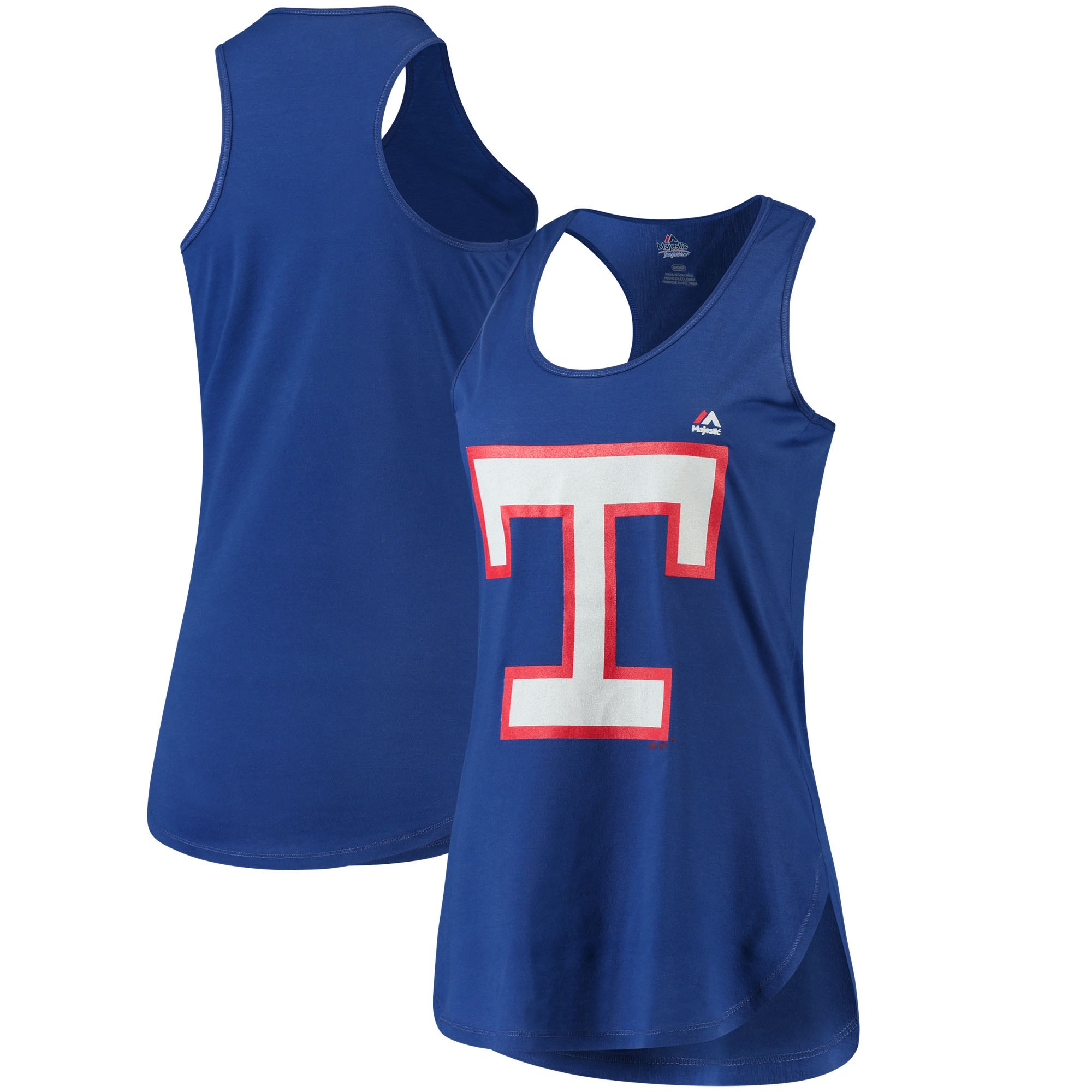 Texas Rangers Majestic Women's Tested Cooperstown Collection Racerback Tank Top - Royal