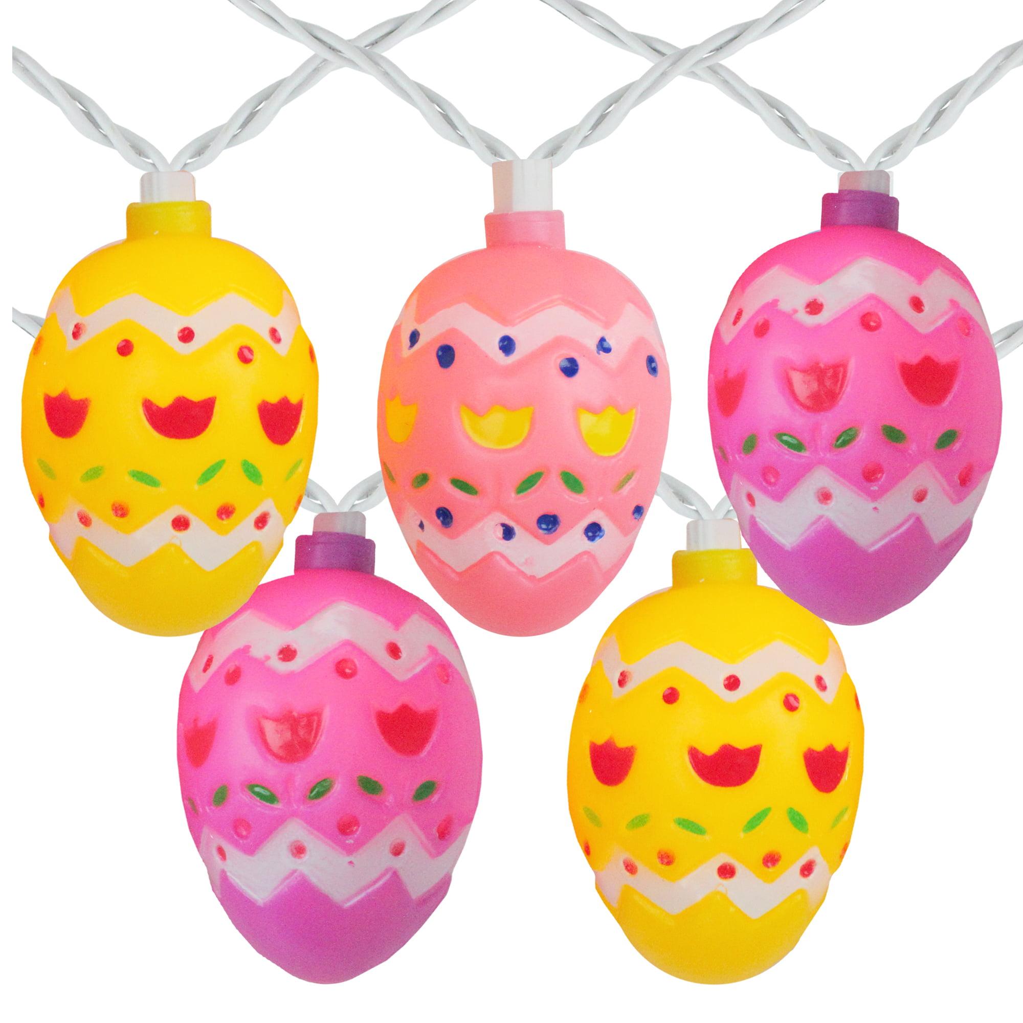 10 Pastel Multi-Color Easter Egg String Lights - 7.25ft. White Wire