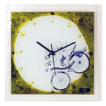 River City Clocks Square Glass Wall Clock with Boy and Girl on Bicycle - 10.25W x 10.25H in. ()