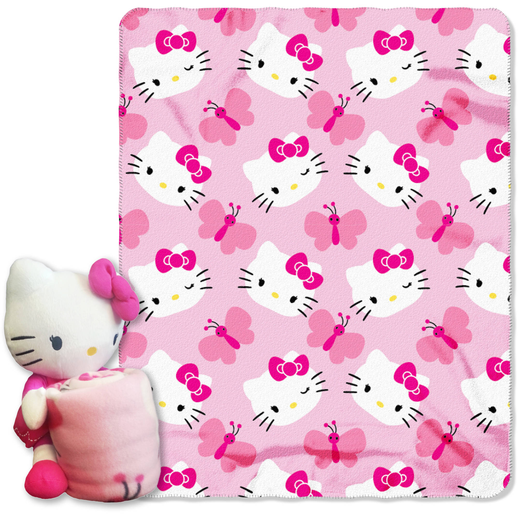 Sanrios Hello Kitty, Kitty Butterfly Hugger Character Shaped Pillow and 40x 50 Fleece Throw Set