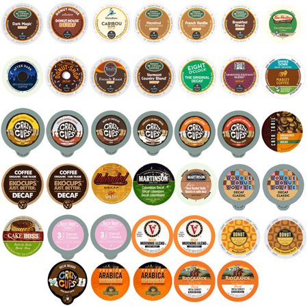 Perfect Samplers Decaf Coffee Single Serve Cups Variety Pack Sampler, 40 -
