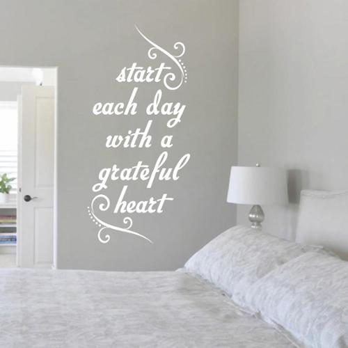 Sweetums Start Each Day with a Grateful Heart' 12 x 24-inch Wall Decal
