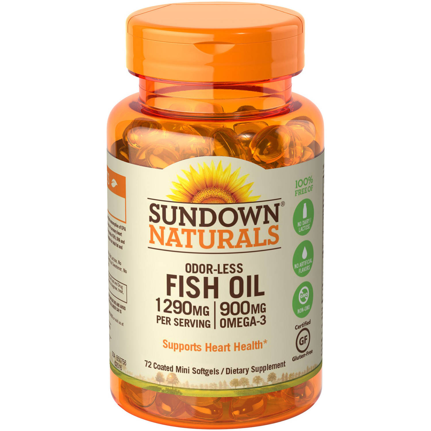 Sundown Naturals Odorless Premium Omega-3 Fish Oil Dietary Supplement Mini Softgels, 1290mg, 60 count