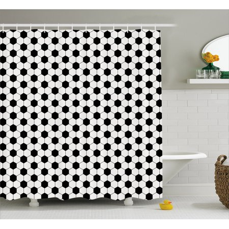 Soccer Shower Curtain, Abstract Football Ball Pattern Monochrome Geometric Design Sports Fun Activity, Fabric Bathroom Set with Hooks, 69W X 70L Inches, Black White, by Ambesonne