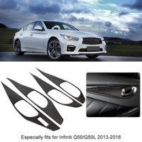 YLSHRF 4pcs Real Carbon Fiber Inner Door Handle Bowl Cover Trim Fit For Infiniti Q50/Q50L 13-18, Inner Door Handle Trim, Door Handle Bowl Trim