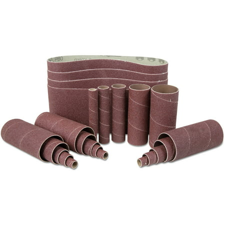 - WEN 80-Grit Combination Belt and Sleeve Sandpaper Set, 24pk