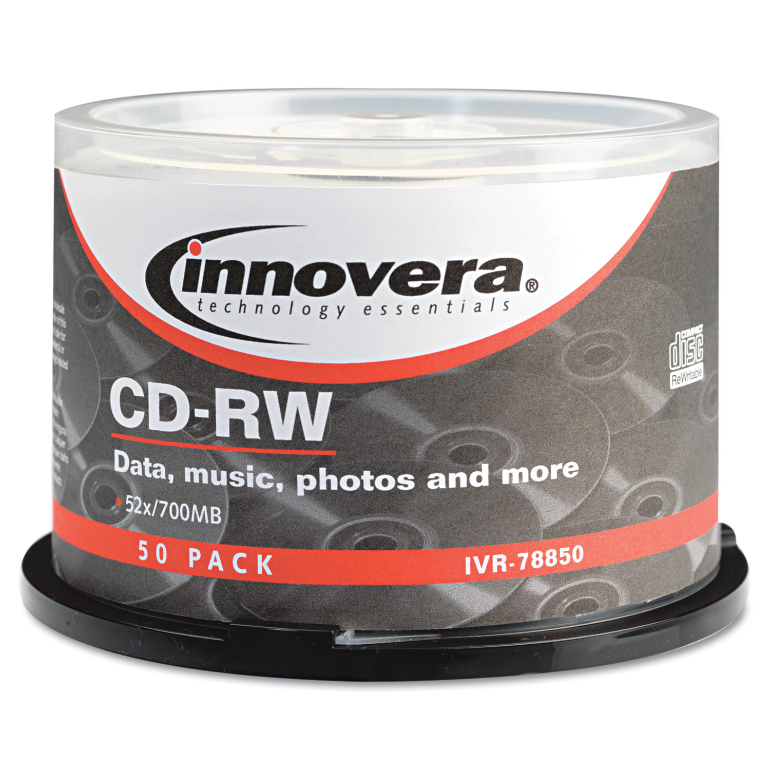 Innovera CD-RW Discs, Rewritable, 700MB/80min, 12x, Spindle, Silver, 50/Pack -IVR78850