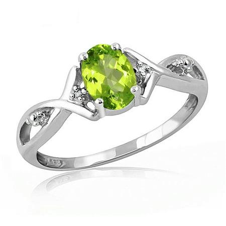 Peridot Gemstone Mom Ring (0.82 Carat T.G.W. Peridot Gemstone and Accent White Diamond Ring)