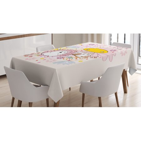 Hedgehog Tablecloth, Abstract Background with Mushroom House Hedgehog with Floral Arrangement, Rectangular Table Cover for Dining Room Kitchen, 60 X 90 Inches, Baby Pink Yellow, by Ambesonne ()