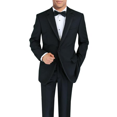 DTI BB Signature Men's Black Two Button Notch Lapel Wool Tuxedo Suit - Wool Tux