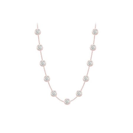 14k Rose Gold station necklace CZ with two carat tgw in 16 inch cable chain - image 1 of 2