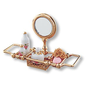 Dollhouse Brass Bathtub Rack/Mirror Set