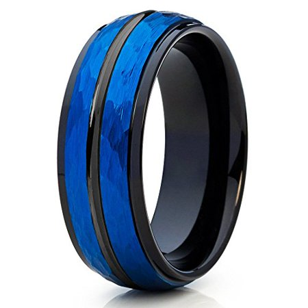 Silly Kings 8mm Blue Tungsten Carbide Wedding Ring Hammered Design Black Groove Edges Inlay Mens Band 8