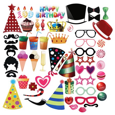PBPBOX 56pcs DIY Hat Glasses Moustache Red Lips Bow Ties On Sticks Birthday Party Photo Booth Props