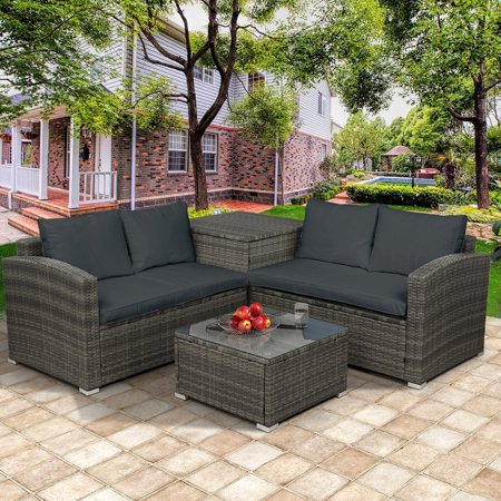 Outdoor Conversation Set, BTMWAY 4-Piece Rattan Wicker Patio Furniture Sofa Set on Clearance, Outdoor Deck Patio Backyard Porch Lawn Bistro Chair Sets, with Storage Box&Side Table&Cushios, Gray, R475