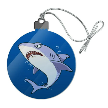 Great White Shark Cartoon in Ocean Acrylic Christmas Tree Holiday Ornament - Christmas Cartoon Tree