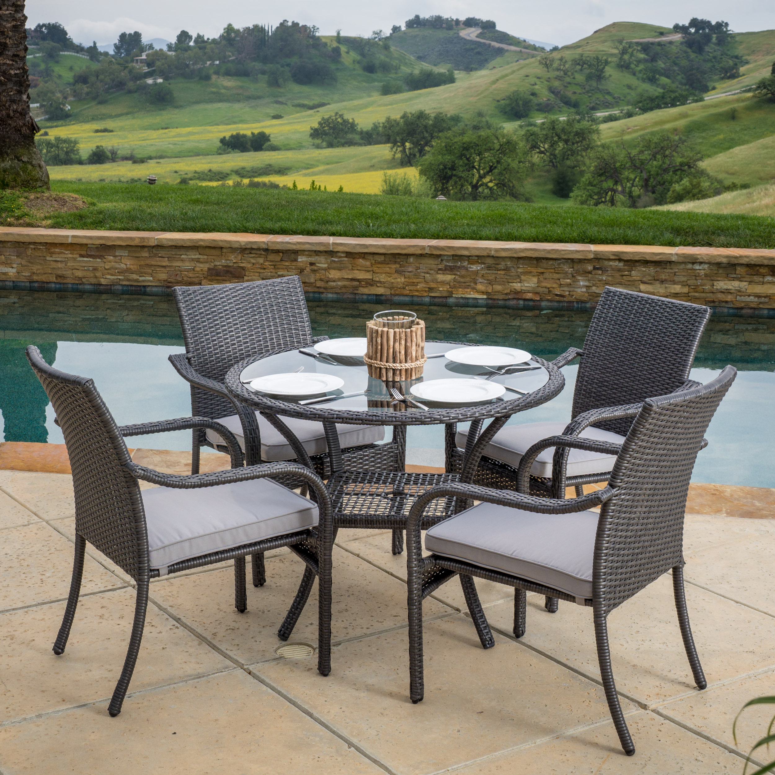 Lenny Outdoor 5pc Grey Wicker Dining Set