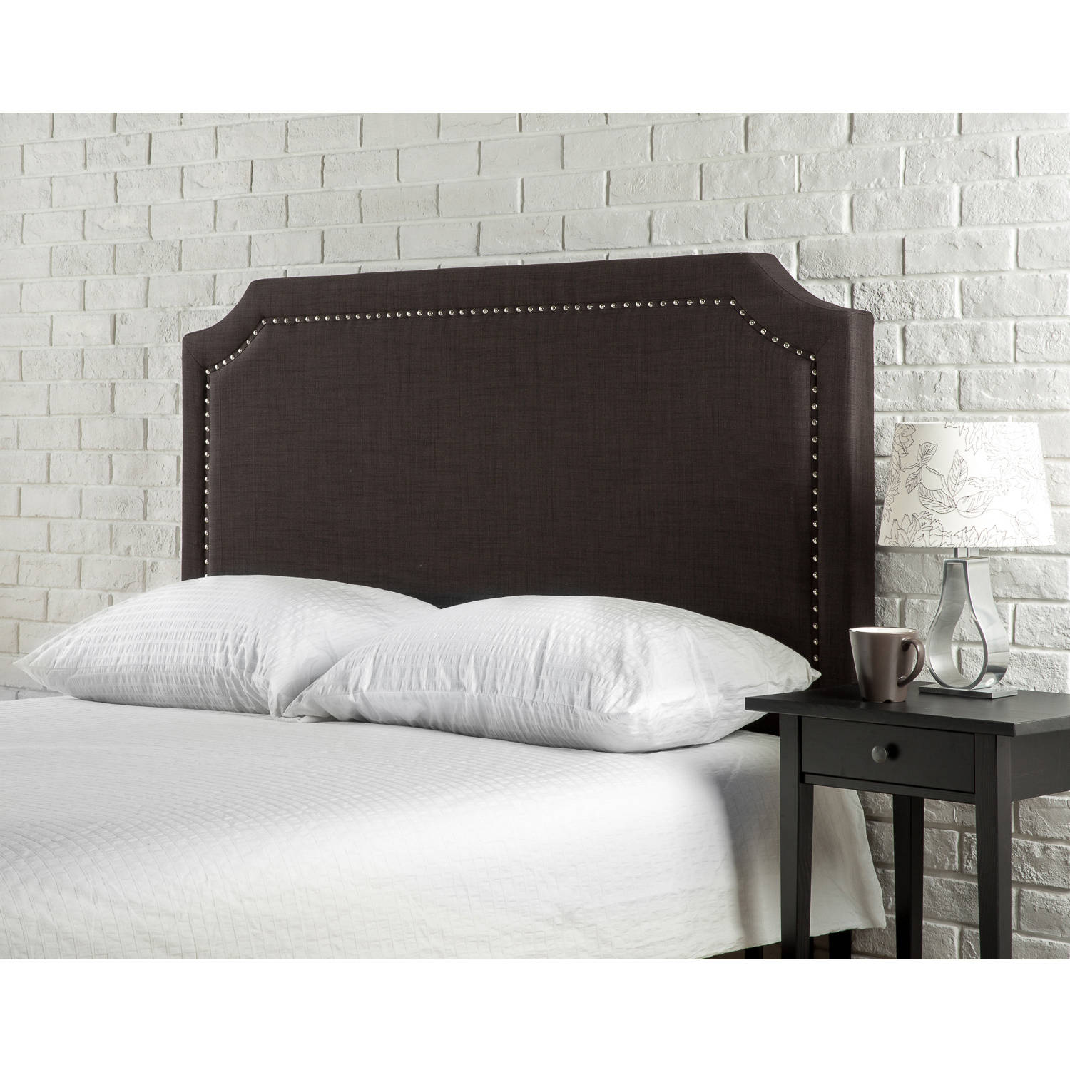 Zinus Upholstered Nailhead Headboard Brown, Full/Queen