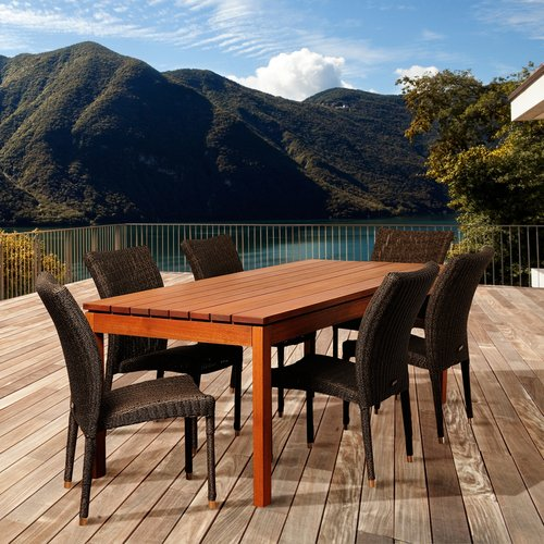 Jamison 7-Piece Eucalyptus/Wicker Rectangular Patio Dining Set
