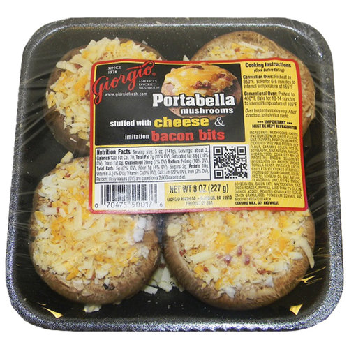 Giorgio Stuffed Cheese & Imitation Bacon Bits Portabella Mushrooms, 4 count, 8 oz