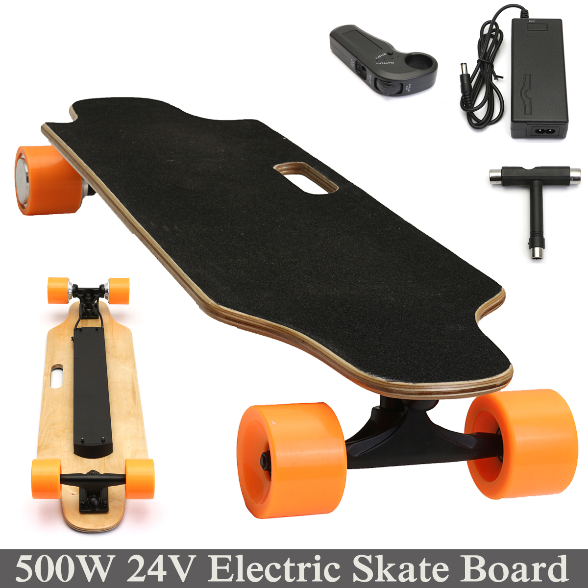 Click here to buy 24V 500W Wireless Double Drive Remote Controller Electric Skateboard Skate Board Longboard.