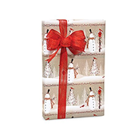 snowy woodland snowman red bird and berries holiday christmas gift wrapping paper 16ft - Walmart Christmas Wrapping Paper