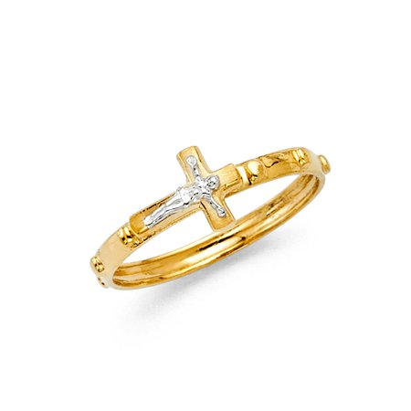 FB Jewels 14K Yellow And White Two Tone Gold Rosary Crucifix Cross Religious Eternity Anniversary Wedding Ring Band Size 5](Jewel Tone Wedding)
