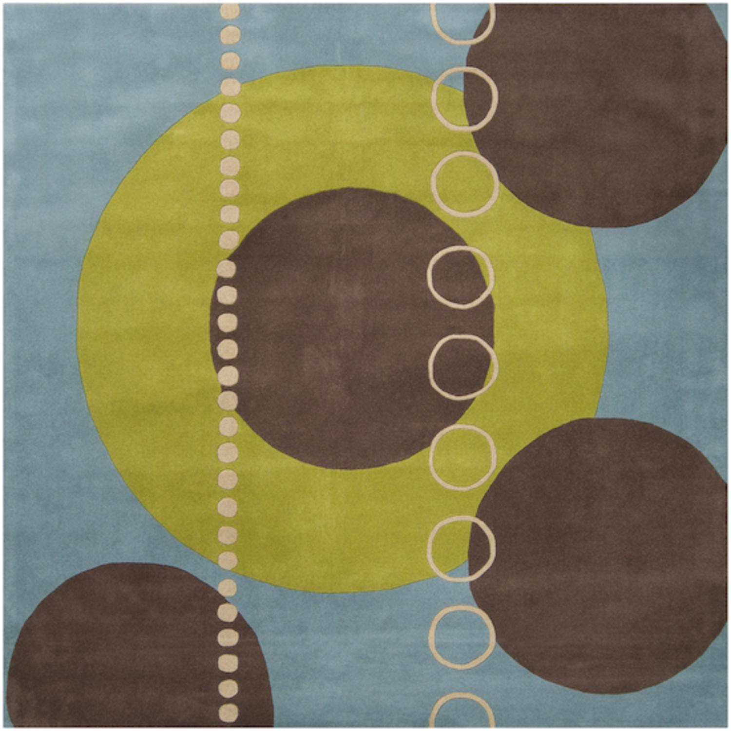 6u0027 X 6u0027 Eclectic Immersion Moss Green And Blue Square Wool Area Throw Rug