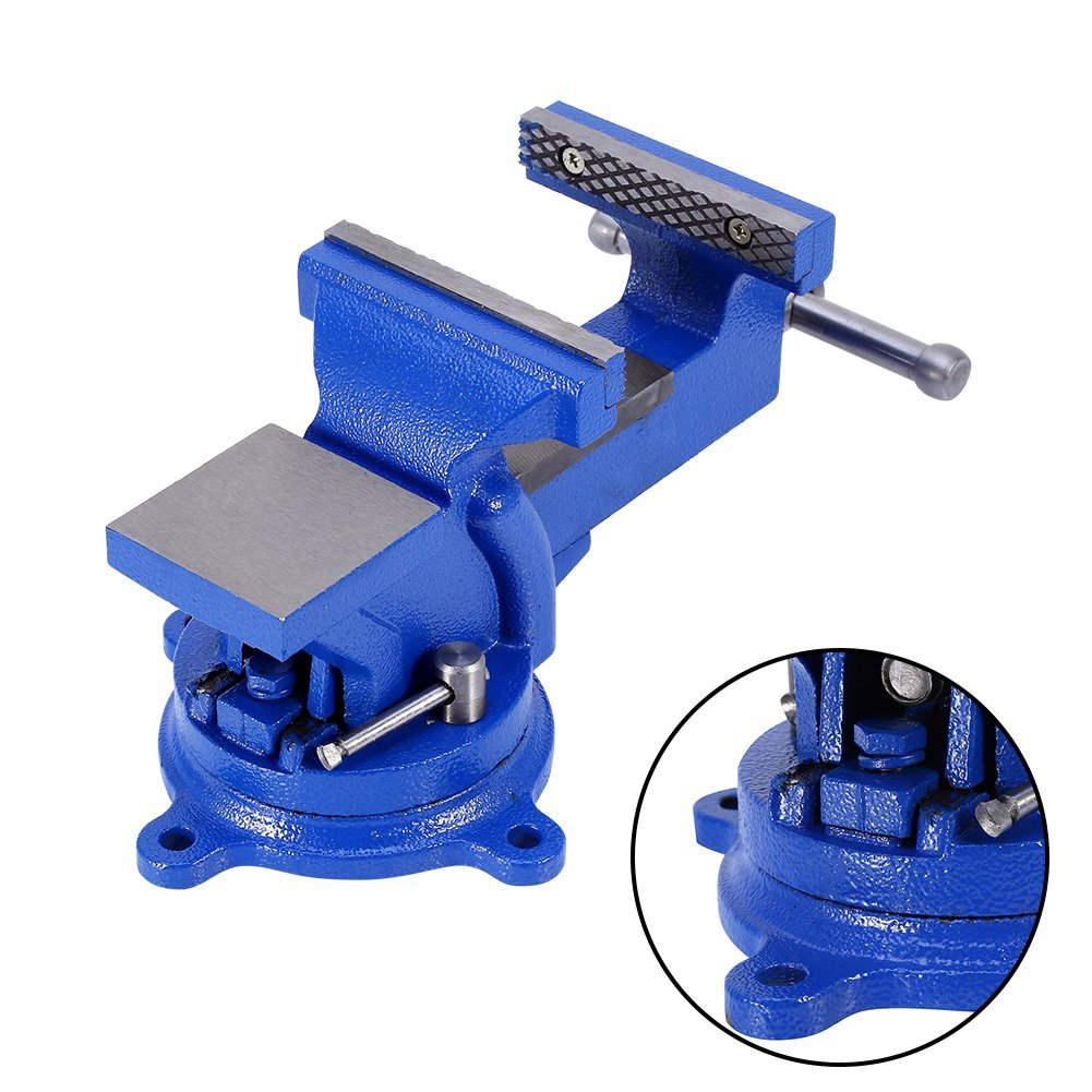 """Bench Vise Clamp,4""""100mm Mechanic Work Shop Table Top Clamp Press Locking Swivel Base Cast Iron Tool by"""