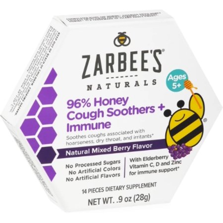 2 Pack - ZarBee's Naturals 96% Honey Cough Soother + Immune Support Lozenges, Mixed Berry, 14