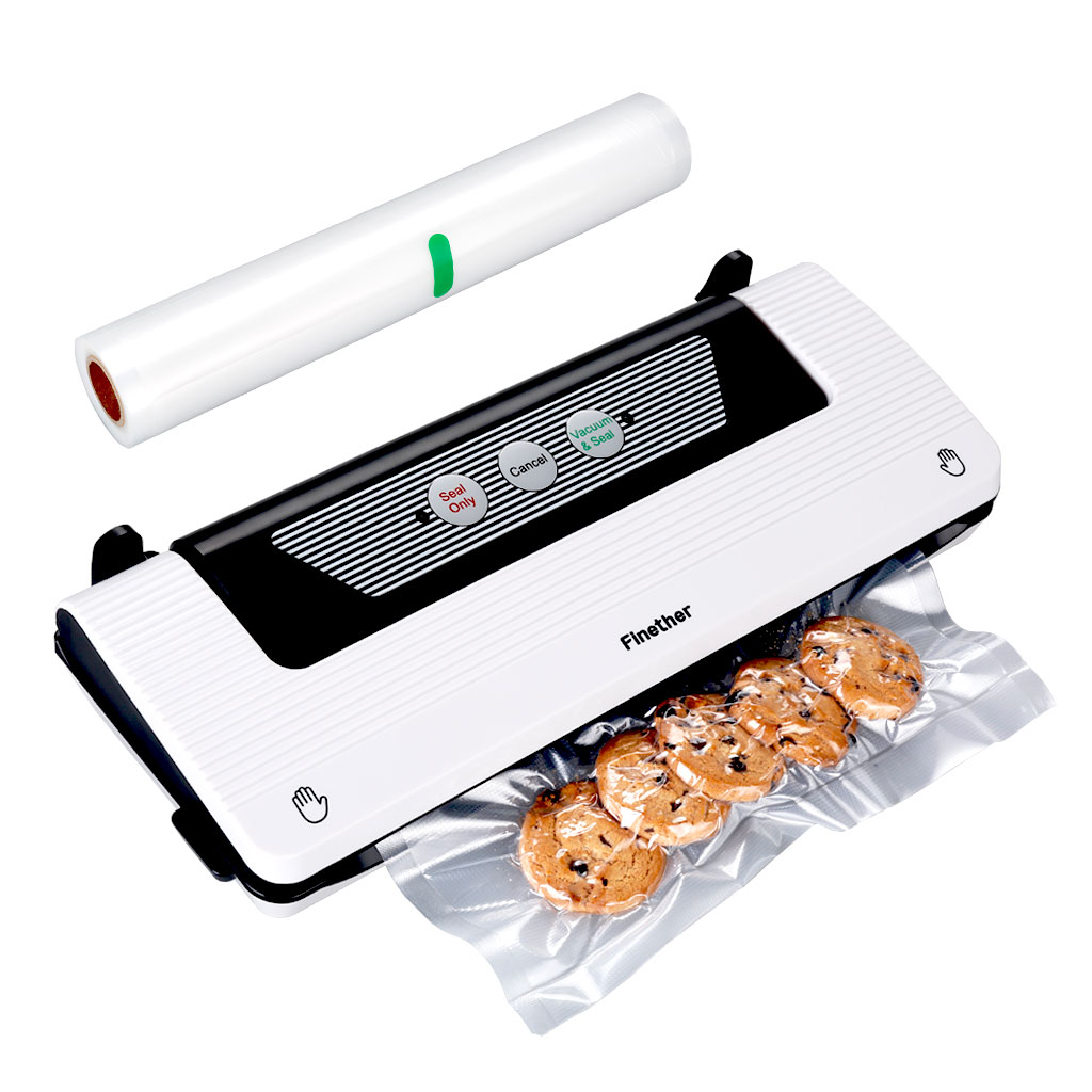 Vacuum Sealer By Finether, Automatic Vacuum Air Sealing System For Food Preservation - Compact Design Lab Tested Led Indicator Lights - Free Bag Roll