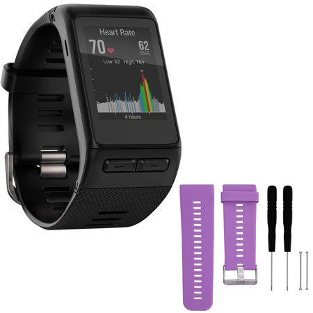 Garmin Vivoactive Hr Gps Smartwatch   X Large Fit   Black  010 01605 04  With General Brand Silicone Band Strap   Tools For Garmin Vivoactive Hr Sport Watch  Purple