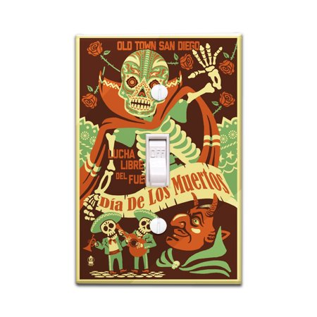 Old Town San Diego - Dia de los Muertos (Day of the Dead) -  Lucha Libre del Fuego - Lantern Press Artwork (Light Switchplate Cover) (Day Of The Dead Crafts)