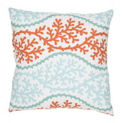 18'' Baby Blue, & Tangerine Tango Orange Coastal Pattern Decorative Throw Pillow