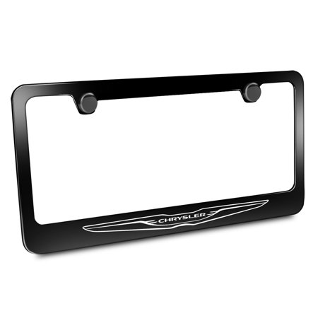 Chrysler Logo Black Metal License Plate Frame
