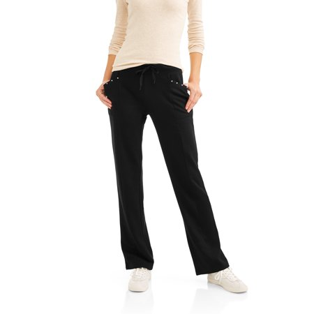 Thrill Women's Cozy Knit Pants with Bling Pocket Detail