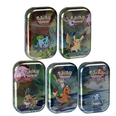 POKEMON TCG: SUN AND MOON KANTO FRIENDS MINI TIN BUNDLE- ALL 5 MINI TINS! | FEATURING PIKACHU, EEVEE, CHARMANDER, BULBASUAR, SQUIRTLE | OVER 100 CARDS (Best New Pokemon Sun And Moon)
