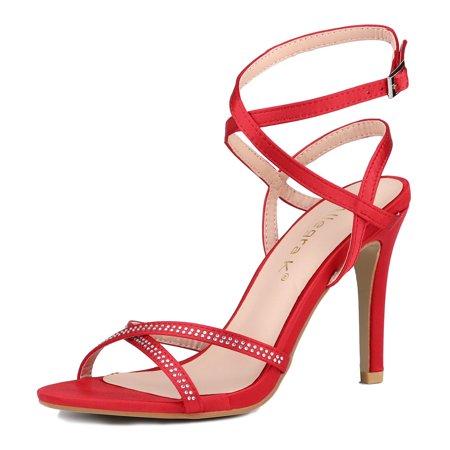 Unique Bargains Women's Rhinestone Stiletto Ankle Strap Sandals Red (Size