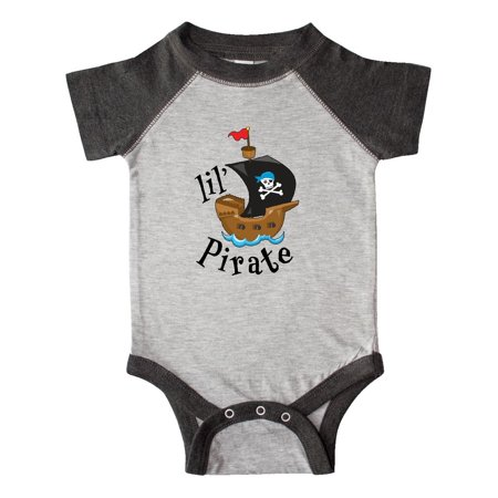 Pirate Funny Infant Bodysuit - Lil' Pirate pirate ship, blue bandana Infant Creeper