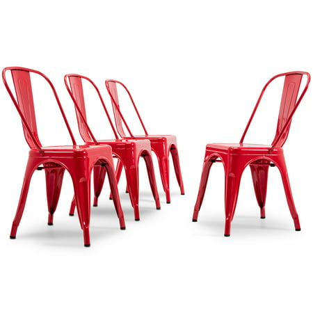 BELLEZE Set of (4PC) Industrial Restaurant Cafe High Backrest Vintage Style Dining Chair Stackable Chairs, Red ()