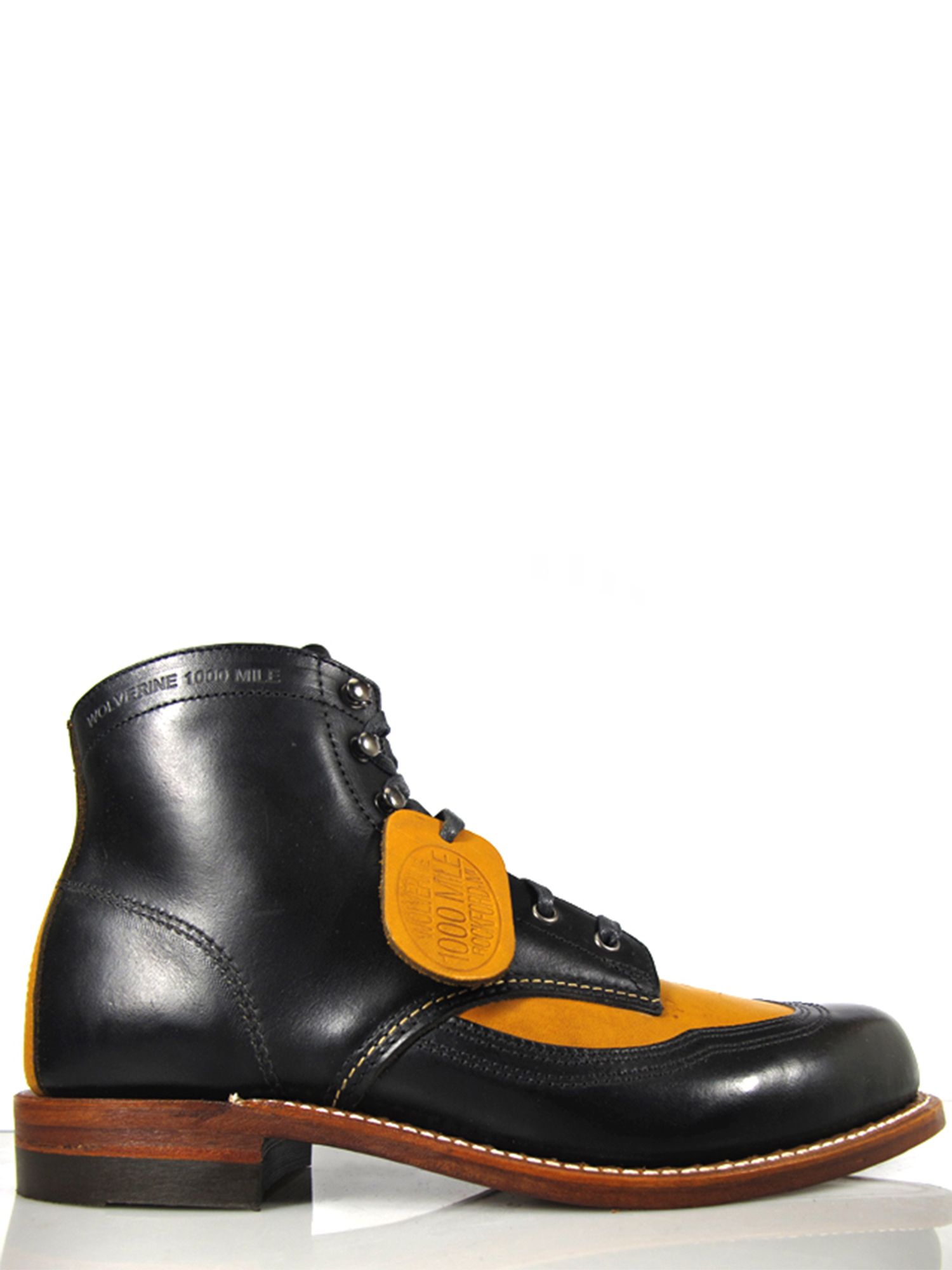 Wolverine Men's Addison 1000 Mile Wingtip Boots W05922 Black Tan by
