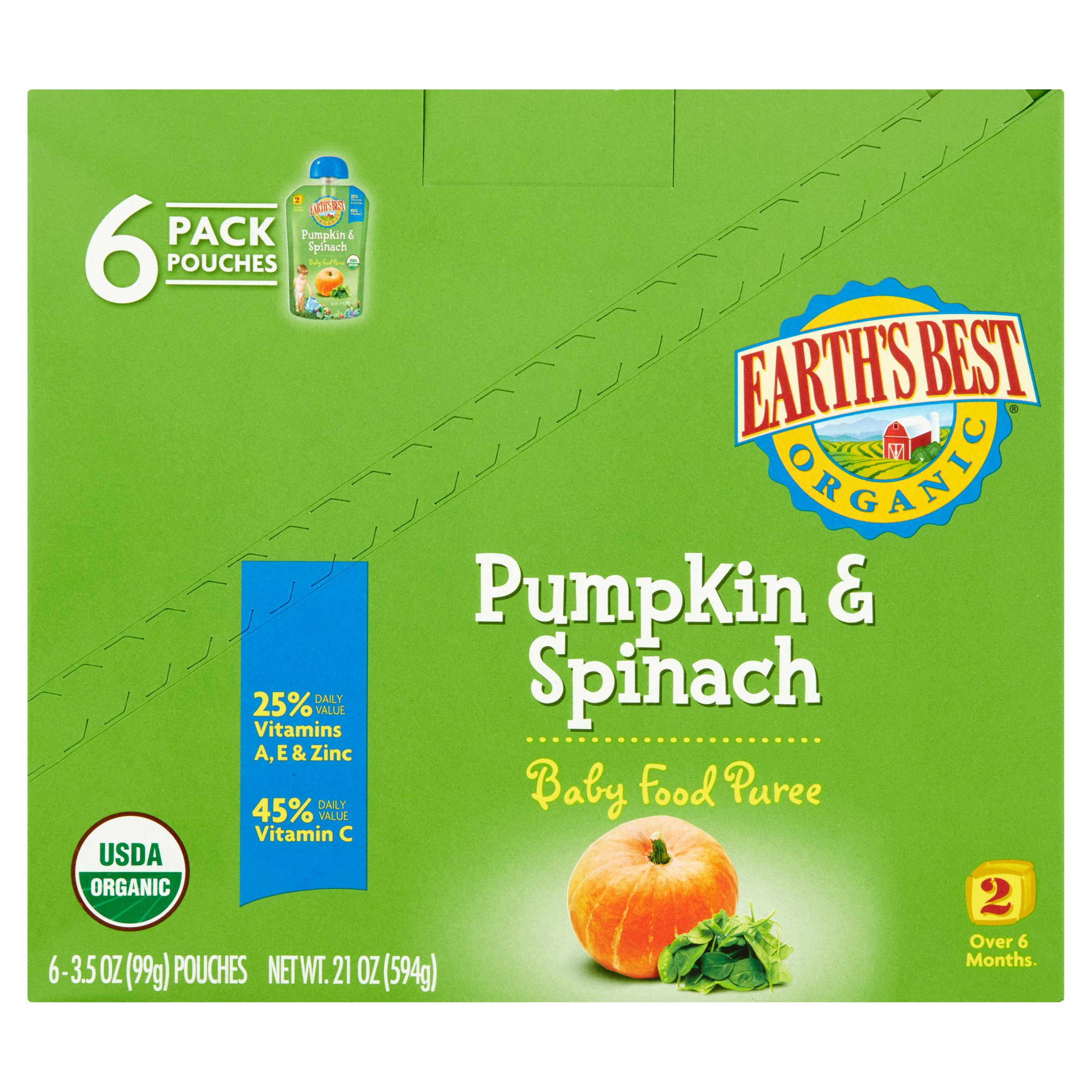 Earth's Best Puree Organic Pumpkin & Spinach 3.5oz - Stage 2 Baby Food (Pack