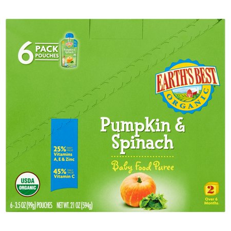 Earths Best Puree Organic Pumpkin   Spinach 3 5Oz   Stage 2 Baby Food  Pack Of 6